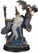 "9"" Wizard w/ Dragon Magician Fantasy Magic Merlin Blue Sorceror Figurine Figure"