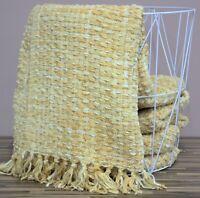 Luxury Woollen Touch Ochre Mustard Yellow Bed Sofa Throw Soft Large Blanket New