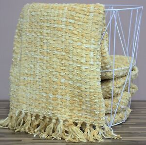 Luxury Woven Knitted Soft Thick Ochre Mustard Yellow Bed Sofa Throw Blanket New