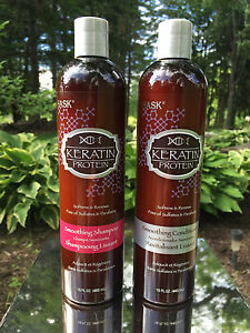 HASK Keratin Protein Smoothing Shampoo & Conditioner 15 oz each *BRAND NEW*