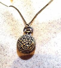 Vintage Reproduction Antique Brass Covered Pocket Watch Necklace