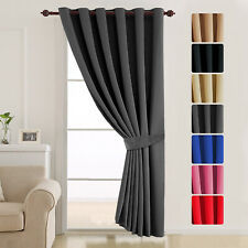 Eyelet Ring Top Long Thick Thermal Blackout Ready Made Door Curtains Panels