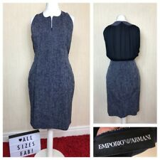 Authentic EMPORIO ARMANI Exclusive Business Work Navy Knee Dress Size 16 UK