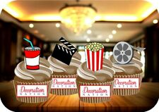 Movie Night Mix 12 Edible STANDUP Cake Toppers Decoration Birthday Film Popcorn