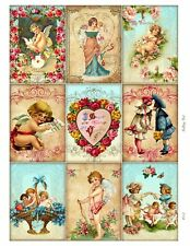 9 Victorian Valentine Hang Tags ATC Scrapbooking Paper Crafts (245)