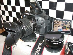 Canon EOS 600D 18.0MP Digital SLR Camera - with THREE LENSES