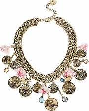 """BETSEY JOHNSON """"Cameo Critters"""" Cat Dog Coin Tassel Brass-Tone Frontal Necklace"""