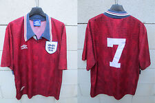 VINTAGE Maillot ANGLETERRE ENGLAND Umbro PLATT n°7 shirt away 1995 XL jersey
