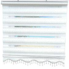 Doppelrollo Weiß Silber glitzer Soso Retro Design Brillant Gardinen Fensterrollo