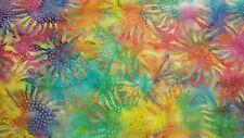 Sunflowers Hand-Dyed Batik Print-Hoffman Fabrics-Flowers-Yellow-Teal-Purple-BTY