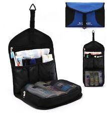 Men Blue & Black Toiletry Travel Hanging Hook Wash Shower Bag Organizer Kit Case