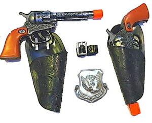 Kids Cowboy Toy Gun Pistols & Holster Set with Badge and Belt  (antq)