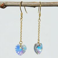 18K Gold-plated Silver Stud Austrian crystal Gemstone Drop Dangle Earrings