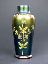 Carl Goldberg iridescent purple glass vase with enamel flowers Haida Art Nouveau