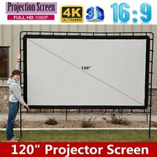 120inch 16:9 Projector Projection Screen 3D Hd Home Cinema Theater Foldable Us