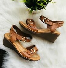 HUSH PUPPIES Leather Wedge Sandals Caramel Camel Brown Women's 7 EUC