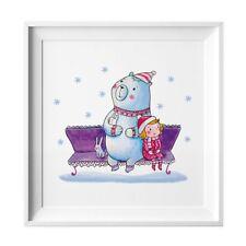 009 Kinderzimmer Bild Bär Winter Poster Plakat quadratisch 20 x 20 cm (ohne Rahm