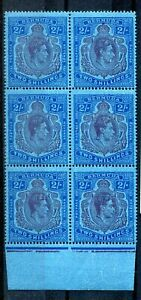 Bermuda KGVI 1938-53 2s purple & blue on dark blue SG116c CW11a MNH block of 6