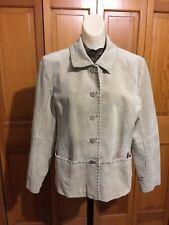 MASSINI  Blazer/ Jacket Tan Color Size L Genuine Suede Leather Buttom up