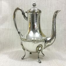 Antique Silver Plated Coffee Pot Jug French Empire Rubans Ribbon Reed Footed