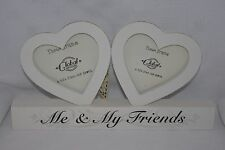 """Me and My Friends Photo Frame Cream Wooden Twin Heart BFF Selfie 4x4"""" F0889G"""