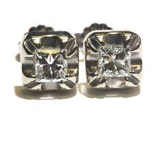 10k white gold 1.07ct I1 F princess Illusion head diamond stud earrings vintage