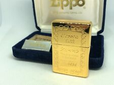 ZIPPO 1991 Limited Edition 5μ K18 Gold-Plated Lighter GP Gold No.0696 w Case