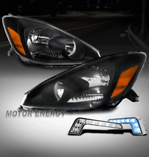 For 04-05 Toyota Sienna Black Headlights Lamps w/Blue LED DRL Signal Left+Right