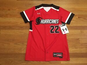 New Under Armour Women's Small Hurricanes Dynamite Softball Jersey Red