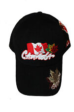 CANADA BLACK COUNTRY FLAG 3 COLORED LEAFS EMBOSSED HAT CAP .. NEW