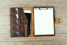 Personalized rustic leather clipboard padfolio A4 letter size business padfolio