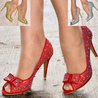 Ladies High Heel Courts Fashion Evening Peep Toes Sparkly Christmas Party Shoes