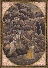 Radha Krishna Hindu Miniature Painting Handmade Indian Religious Flute God Art