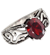 "Silpada RING 10 Sterling Silver ""Villa"" Red Cubic Zirconia R2751"