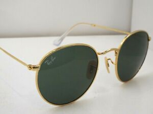 NEW Ray-Ban RB 3447 001 Gold Green Classic Round 53 mm Sunglasses $193