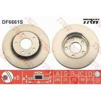 TRW 2x Bremsscheiben belüftet lackiert schwarz DF6661S