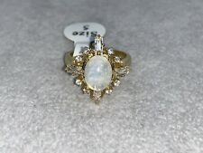 18k Gold Genuine Natural Moonstone Ring | Lab Created Diamonds
