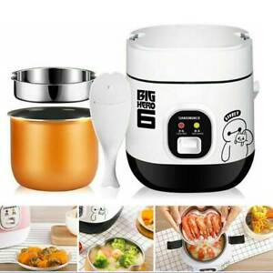 Mini Electric Rice Cooker Portable for Student 1-2 Person 1.2L Pot & Spoon