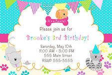 30 Kitten Birthday Invitation Girl Birthday Party Cute Cats A1
