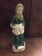 Flambro Fine Porcelain Old Lady Woman Holding A Basket Of Grapes Nice!!