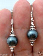 Handmade 12mm Black South Sea Shell Pearl Sterlin Silver Leverback Earrings