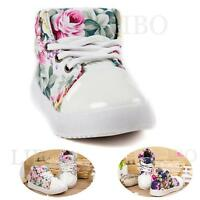 Lot Baby Toddler Girl Floral Canvas Casual Sneakers High Top Lace Up Soft Shoes