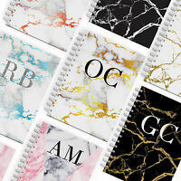 PERSONALISED NOTEBOOK A5 NOTEPAD / PADS BOOKS MONOGRAMMED MARBLE WITH INITIALS
