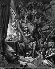 Gustave Dore Don Quixote In Library Of Imagination Real Canvas Art Print New