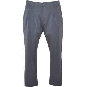 Pantaloni chino in puro cotone grigio a vita bassa chiusura con bottone e cernie