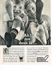 PUBLICITE ADVERTISING  1962   COLLEGIEN   chaussettes LES JUMEAUX