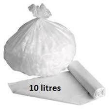 Sac poubelle HD blanc 10 L 10 mic - Carton de 1000 sacs 10 litres