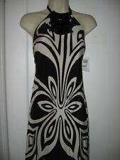 TIBI Beaded Necklace Halter Maxi Long Silk Dress Gown Black/White 2 US $598