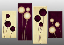 """Large Plum Cream Abstract Canvas Picture Circles Wall Art Split Multi panel 40"""""""