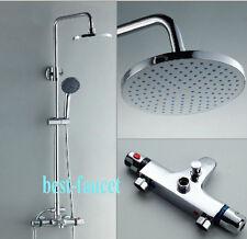 Chrome Finish Thermostatic Bath Shower Faucet Column Set Mixer W/ Bathtub Tap